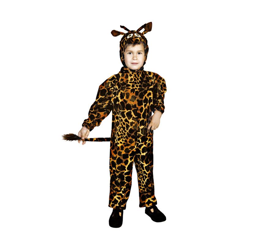 Disfraz de Jirafa para niños de 3 a 4 años. Incluye mono con capucha. Este disfraz puede ser para niños y niñas.