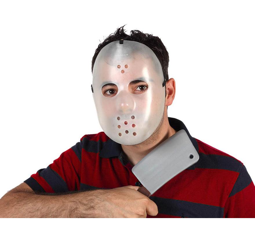 Máscara fluor de Jason con hacha para Halloween. Máscara y Hacha de la película viernes 13.