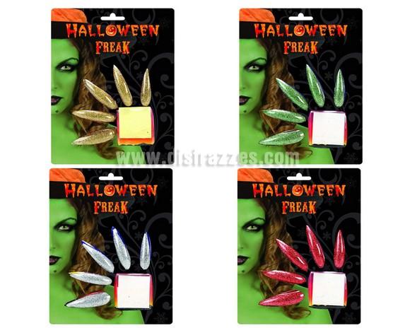 Set de 10 uñas de Bruja o Diablesa purpurina para Halloween. Incluye 10 uñas y adhesivo para su colocación. Medidas del blister 20/15 cm.