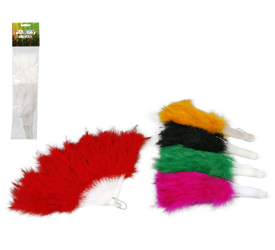 Abanicos de plumas de colores surtidos 28 cm. Precio por unidad, se venden por separado.