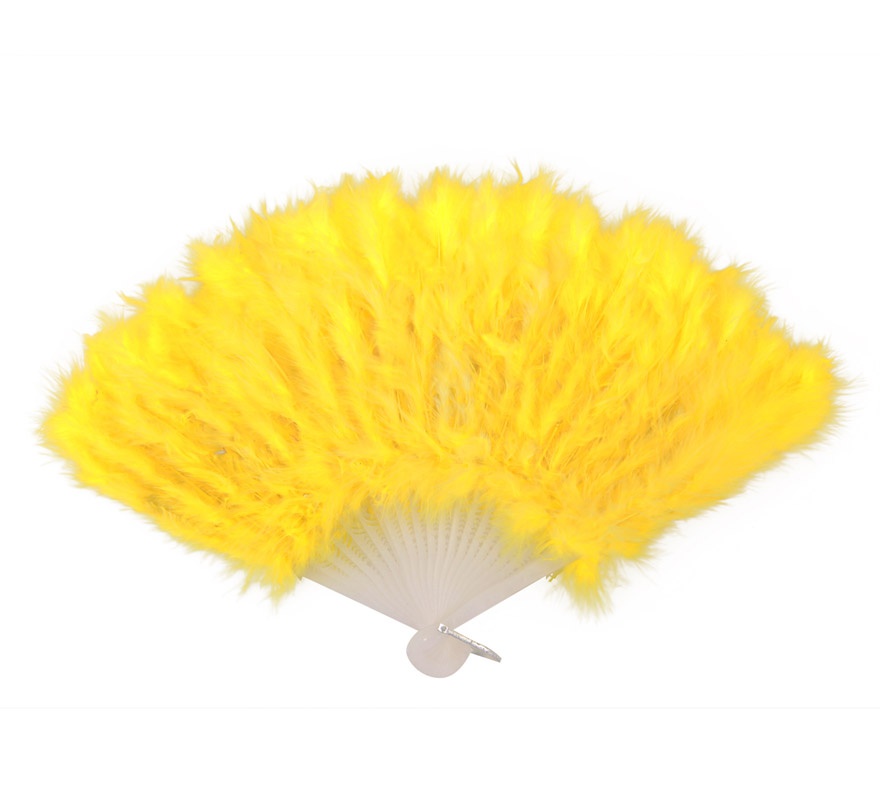 Abanico de plumas amarillo de 28 cm. para Carnaval y Halloween.