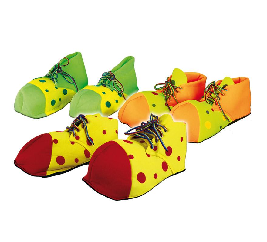 Par de Zapatos o Zapatones de Payaso de 25 cm. Talla de la 22 a la 28, para niños. Tres colores surtidos, precio por par, se venden por separado.