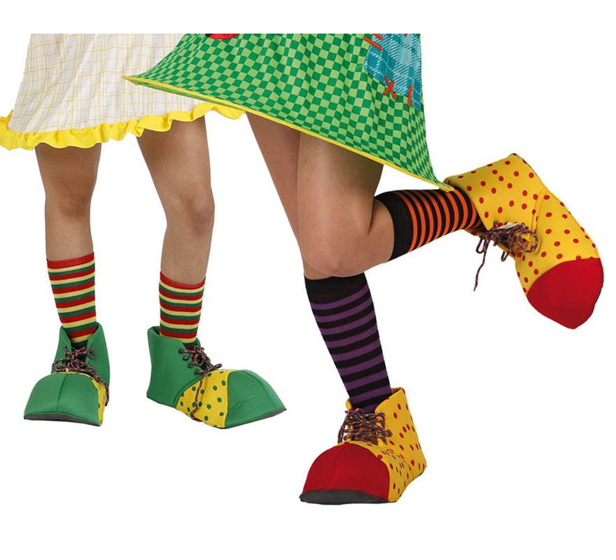 Par de Zapatos o Zapatones de Payaso de 28 cm para niños. Dos modelos surtidos. Precio por unidad, se venden por separado.