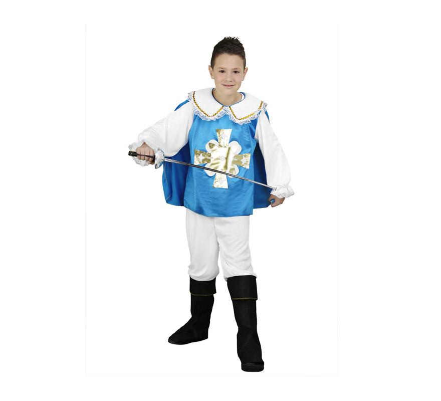 Disfraz de Mosquetero niño barato para Carnavales. Talla de 3 a 4 años. Incluye camisa, capa y pantalones-botas de tela.