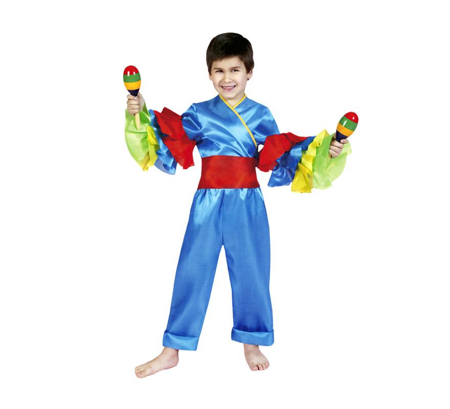 Disfraz de Rumbero azul infantil para Carnaval. Talla de 3 a 4 años. Incluye camisa, fajín y pantalones. También sirve como disfraz de Caribeño o Brasileño de niño.
