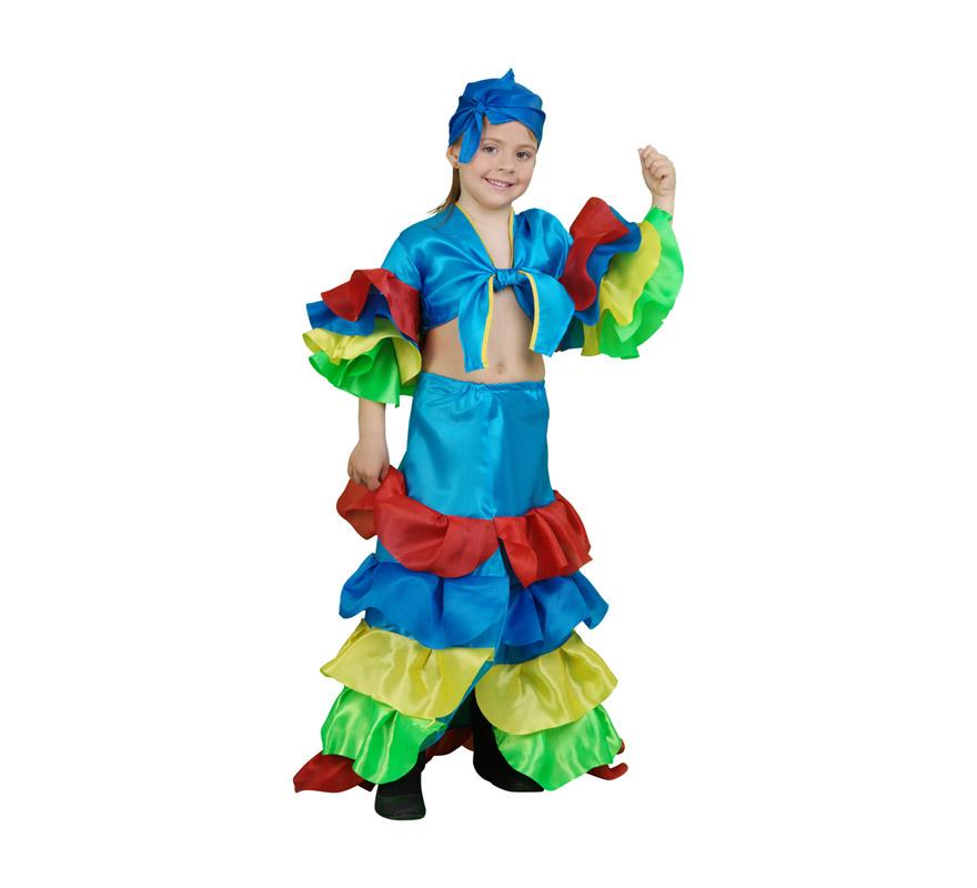Disfraz de Rumbera azul infantil para Carnaval. Talla de 3 a 4 años. Incluye falda, camisa y pañuelo. Disfraz de Caribeña o Brasileña.