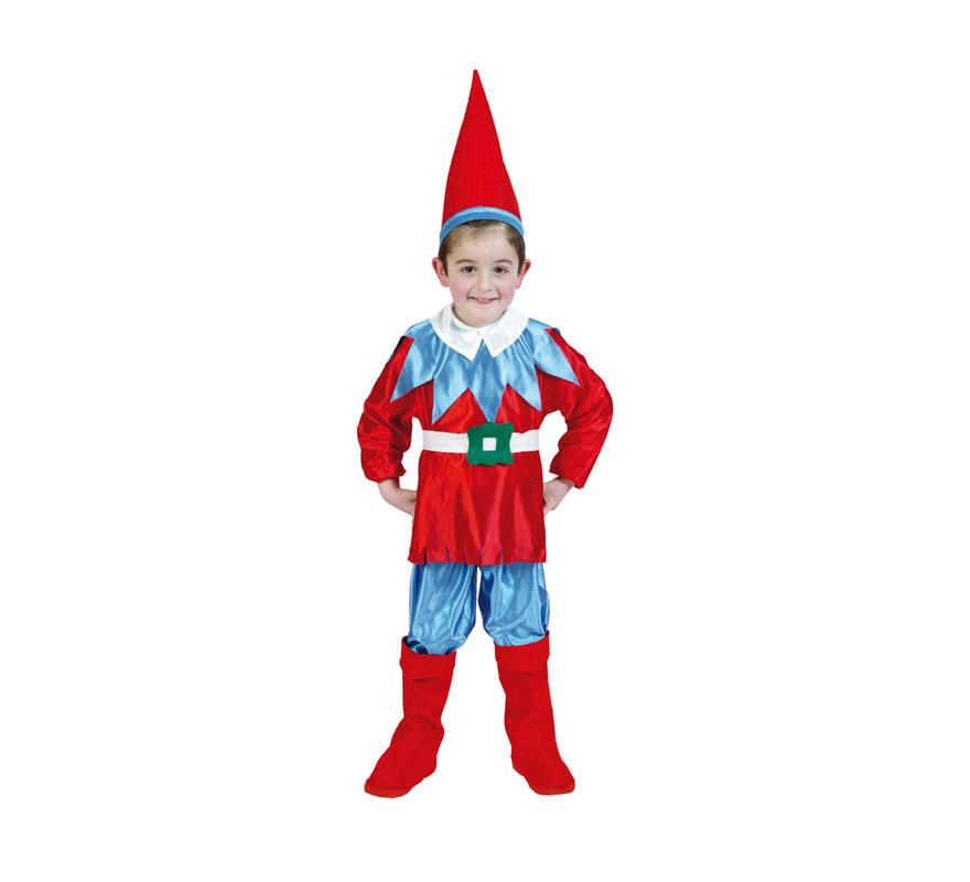 Disfraz de Enanito azul y rojo infantil para Carnaval y para Navidad. Talla de 5 a 6 años. Disfraz de Duende, Duendecillo o Elfo para Navidad. Incluye gorro, camisa, cinturón, pantalones y cubrebotas. Éste disfraz de Navidad es ideal para la época Navideña en la que los niños hacen teatros de Belenes e interpretan canciones tradicionales en los Colegios y se comienzan a preparar las Fiestas en las que Reina la Paz y la Unidad. Disfrazándote con un disfraz para Navidad, o disfrazando a tus hijos con disfraces de Navidad, ayudas a crear ese ambiente mágico en el que los peques se sienten protagonistas y sienten el auténtico Espíritu Navideño que entre todos debemos crear. ¡¡Compra tu disfraz para Navidad en nuestra tienda de disfraces, será divertido!!