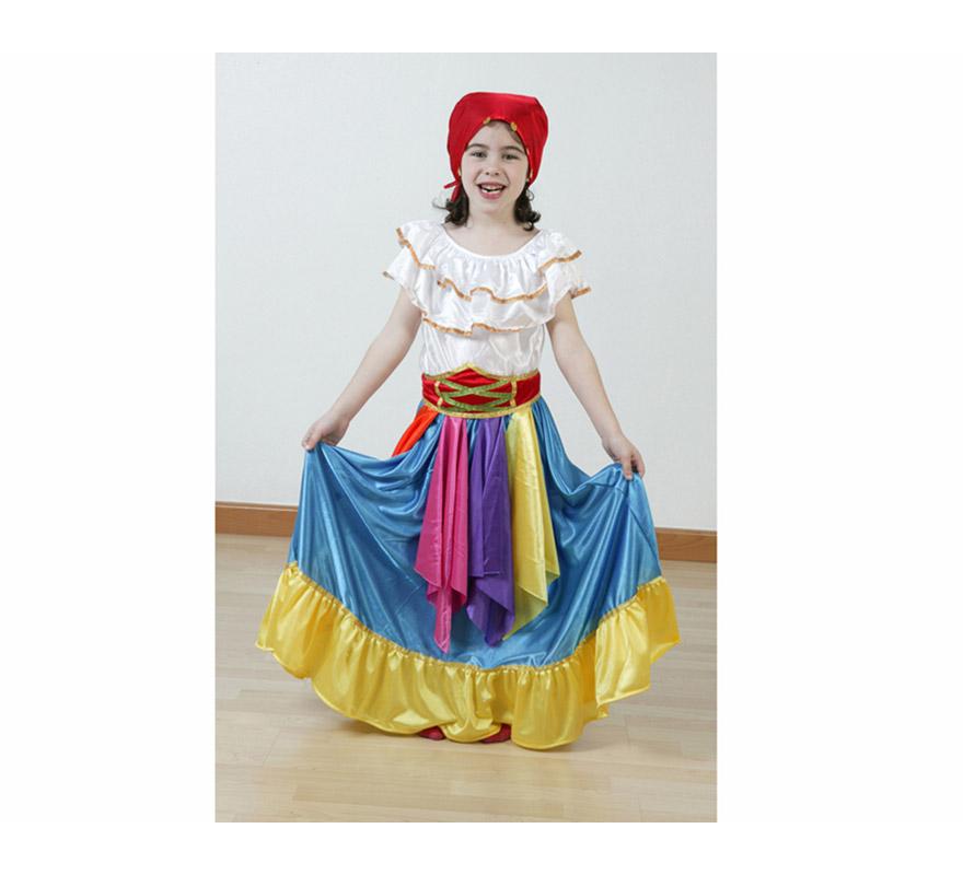 Disfraz barato de Zíngara Azul infantil para Carnaval. Talla de 5 a 6 años. Incluye falda, camisa, fajín y pañuelo.
