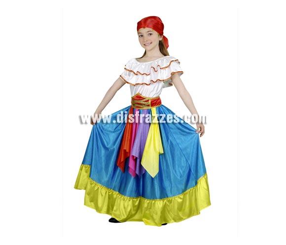 Disfraz barato de Zíngara Azul infantil para Carnaval. Talla de 7 a 9 años. Incluye falda, camisa, fajín y pañuelo.