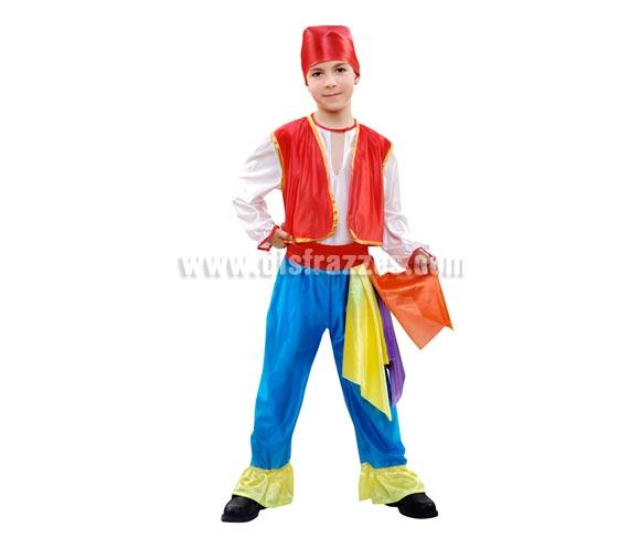Disfraz barato de Zíngaro azul infantil para Carnaval. Talla de 5 a 6 años. Incluye camisa, chaleco, pantalón, fajín y pañuelo.