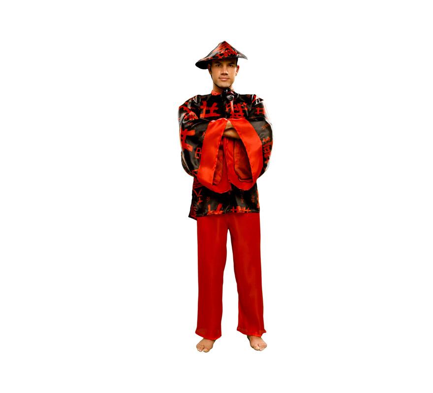 Disfraz barato de Chino Negro para hombre. Talla Standar M-L 52/54. Incluye camisa, pantalón y sombrero.