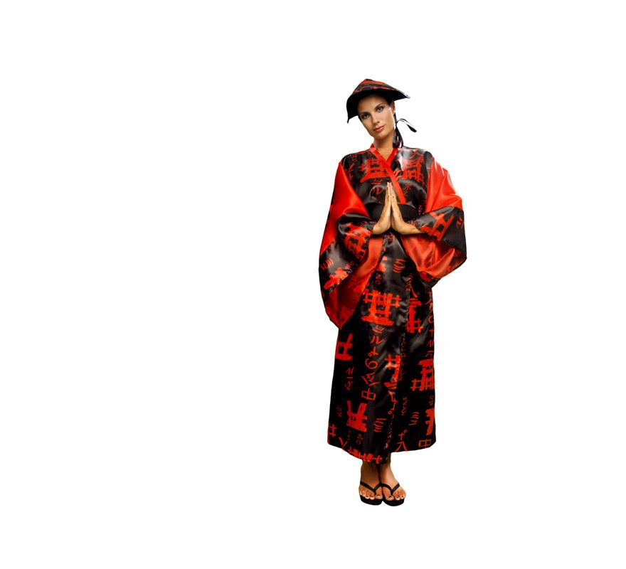 Disfraz de China negro para mujer. Talla standar M-L 38/42. Incluye gorro, vestido y cinturón.