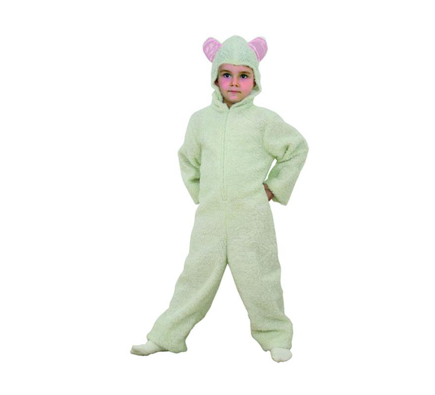 Disfraz de Ovejita blanca talla de 7 a 9 años. Incluye mono con capucha. Ideal para Belenes de colegios.