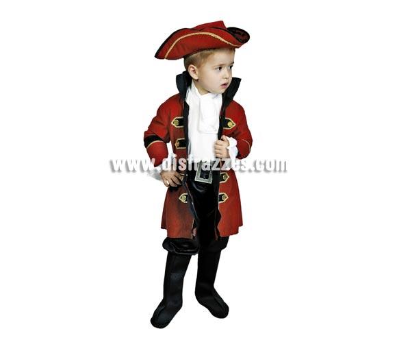 Disfraz de Rey Pirata niño talla de 3 a 4 años. Incluye puños, chaqueta, pantalón con cubrebotas, cinturón y sombrero. Un disfraz muy completo con el que los niños están muy guapos..