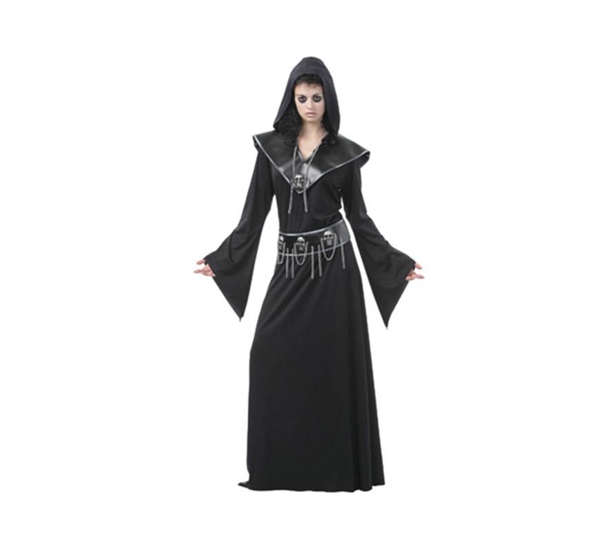 Disfraz de Mujer Ejecutora de las Calaveras para Halloween. Talla Standar M-L = 38/42. Disfraz de Halloween barato que incluye vestido, cinturón y collar.