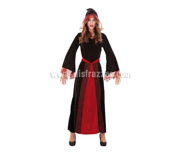Disfraz de Mujer Araña con capucha para Halloween. Talla M-L = 38/42. Disfraz de Sacerdotisa para Halloween de buena calidad que incluye vestido con capucha.