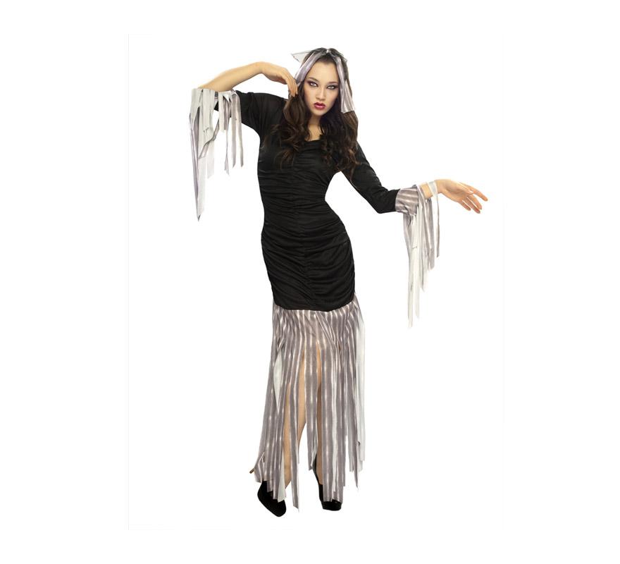 Disfraz de Reina Zombie adulta para Halloween. Talla estándar M-L = 38/42. Disfraz barato de Halloween que incluye vestido y tocado.