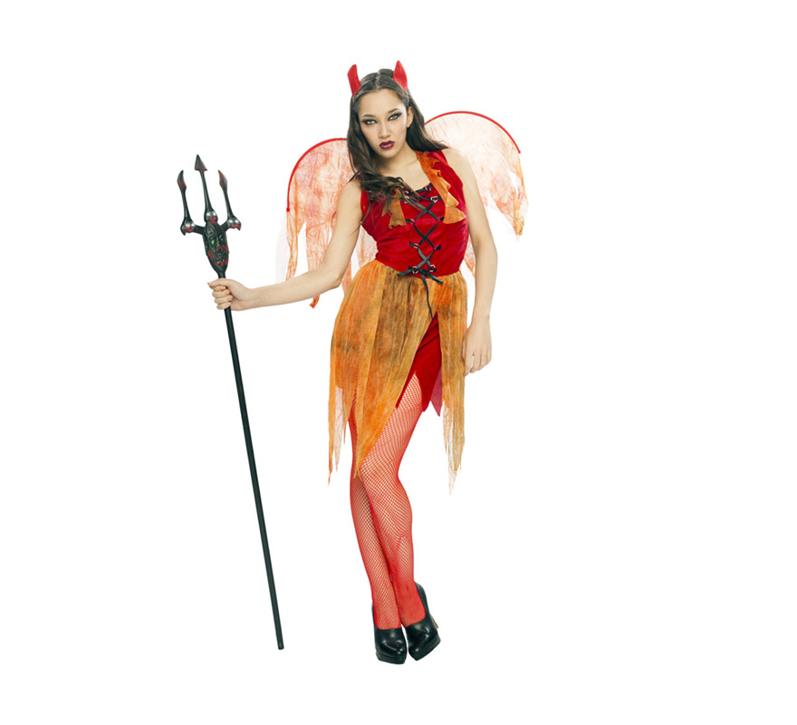 Disfraz de Demonia o Diablesa adulta con Alas para Halloween. Talla Standar M-L = 38/42. Disfraz barato de Halloween que ha bajado el precio considerablemente y que incluye cuernos, vestido y alas. Tridente y cubrebotas NO incluidos, podrás verlo en la sección de Complementos.