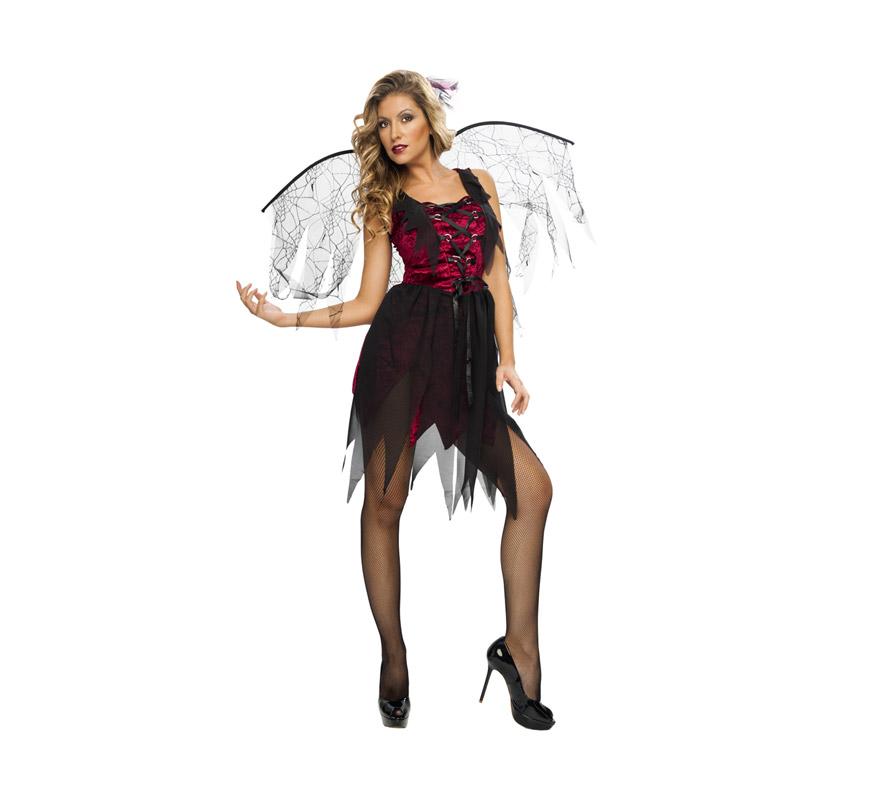 Disfraz de Bruja Arácnida adulta de Halloween. Talla Standar M-L = 38/42. Disfraz barato para Halloween que incluye tocado, vestido y alas.