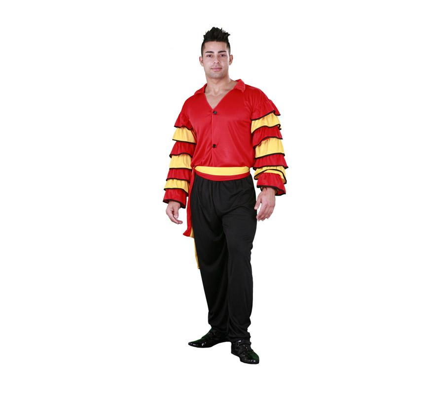 Disfraz de Bailaor Flamenco. Disfraz de Sevillano. Disfraz de Rumbero. Talla Standar M-L de adulto 52/54. Incluye pantalones, camisa y fajín. Disfraz de Caribeño o Rumbero para hombre.