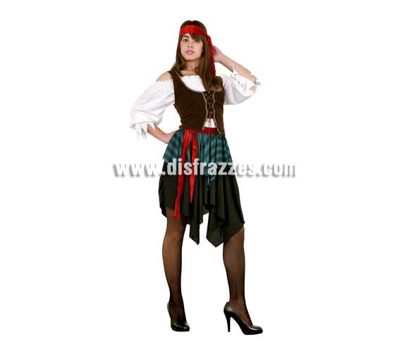 Disfraz de mujer Pirata. Talla Standar M-L = 38/42. Incluye camisa, chaleco, falda, tocado y cinturón.
