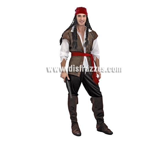 Disfraz de Pirata adulto. Talla standar M-L 52/54. Incluye pantalón, camisa-chaleco, turbante, cinturón y botas de tela. Peluca y trabuco NO incluidos, podrás verlos en la sección de Complementos.