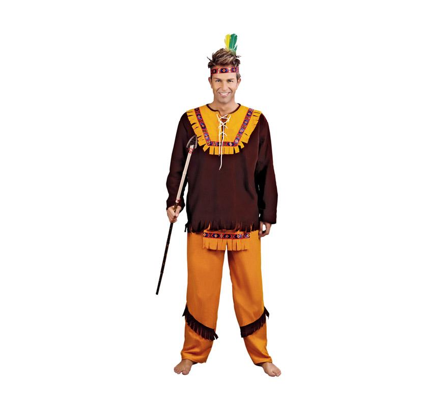 Disfraz de Indio Marrón adulto para hombre. Talla standar M-L = 52/54. Incluye cinta cabeza, casaca, delantal y pantalones. Lanza NO incluida, podrás verla en la sección Complementos.