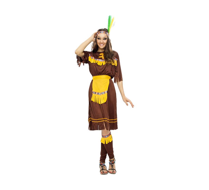 Disfraz de India Marrón adulta. Talla standar M-L 38/42. Incluye tocado, vestido, delantal y espinilleras. Lanza NO incluida, podrás verla en la sección Complementos.