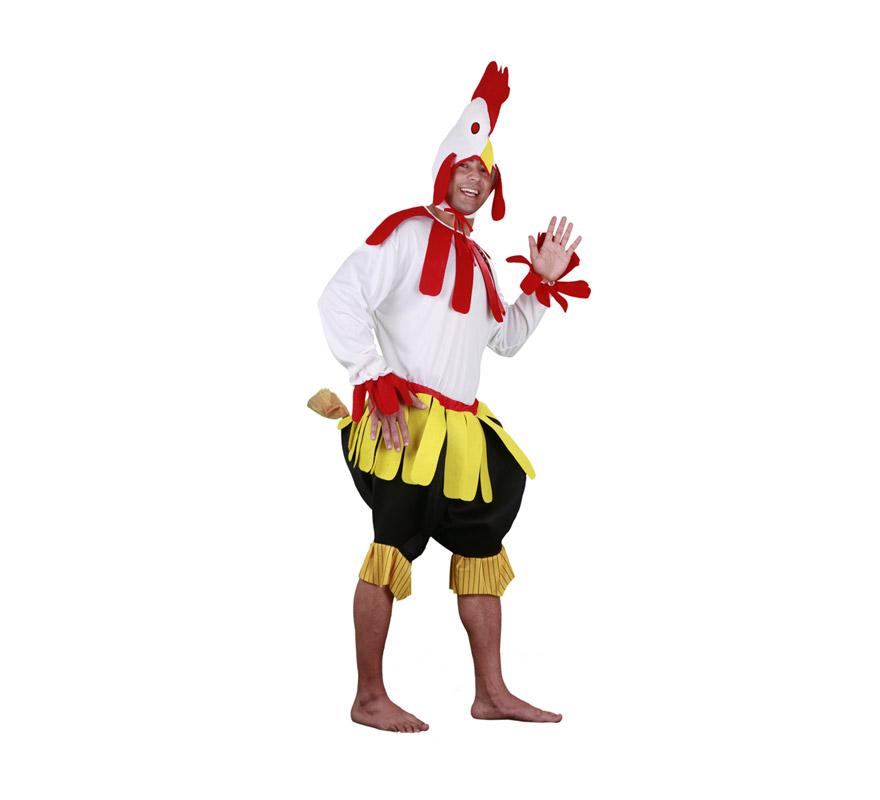 Disfraz de Gallo para hombre. Talla Standar M-L = 52/54. Incluye gorro, camisa y pantalón con cola. Un disfraz superdivertido y original que causa sensación y que da mucho juego, perfecto para Carnaval y para Fiestas Populares.