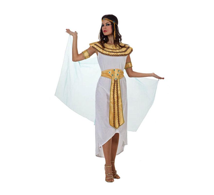 Disfraz de Egipcia para mujer. Talla S 34/38 para chicas delgadas y adolescentes. Incluye vestido, cinturón, manguitos, cuello y cinta de la cabeza. Disfraz de Cleopatra Reina del Nilo o Reina de Egipto para mujer.