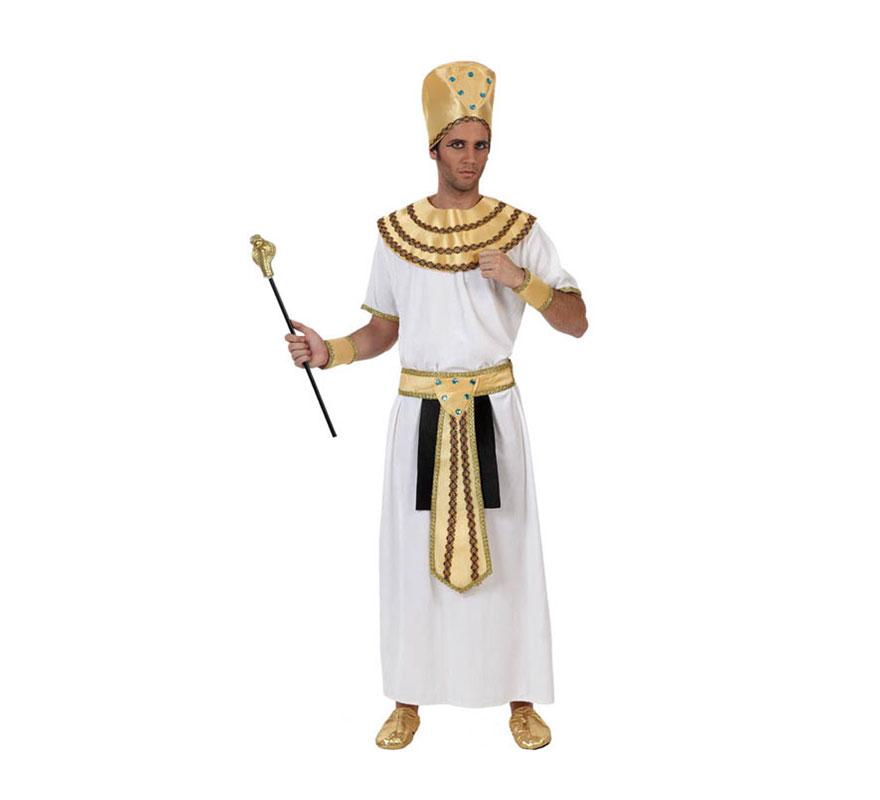 Disfraz de Egipcio para hombre. Talla 1 ó talla S 48/52 para chicos delgados o adolescentes. Incluye túnica, cinturón, cuello, gorro y brazaletes. Bastón y babuchas no incluidos. Disfraz de Rey del Nilo.