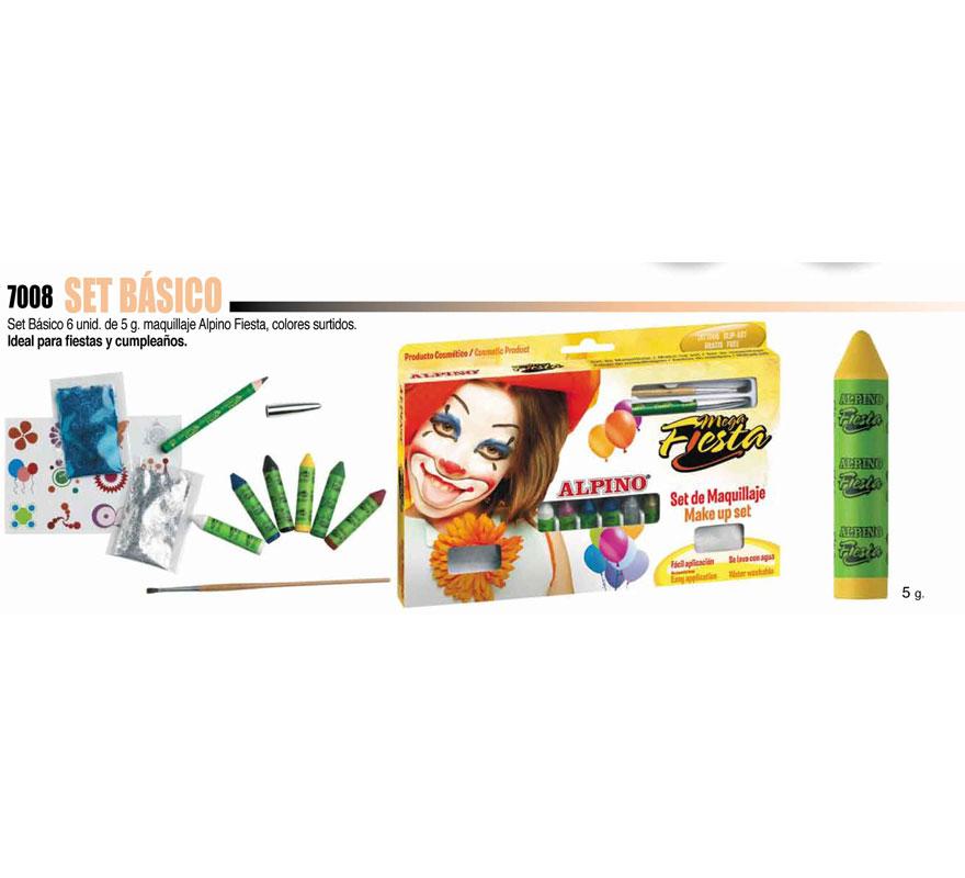 Set básico de Maquillaje ALPINO. Incluye los artículos que se muestran en la imagen. Ideal para Fiestas y Cumpleaños. Producto cosmético. Fácil aplicación, se quita con agua y jabón.