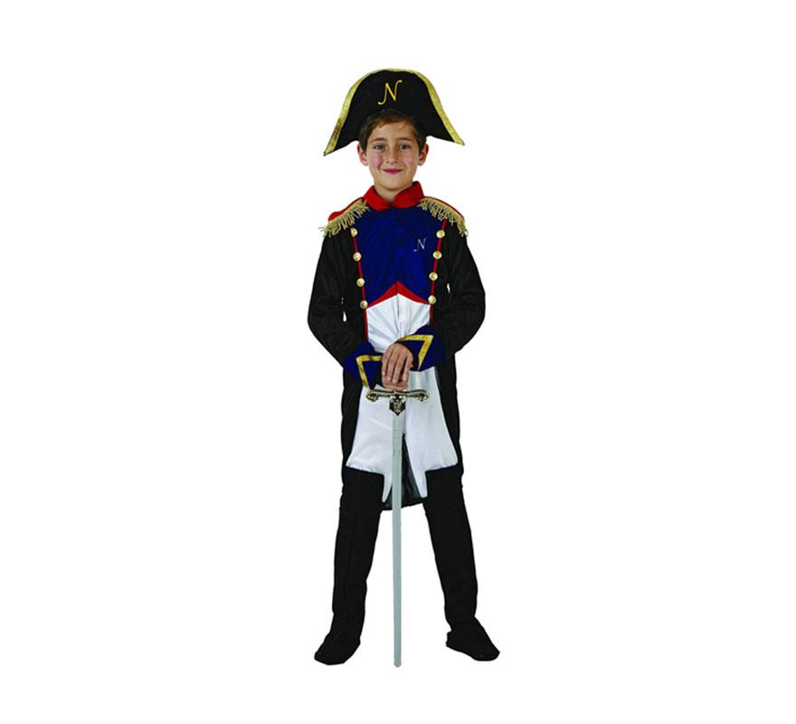 Disfraz de Soldado Francés o General Francés para niños de 10 a 12 años. Incluye traje y sombrero. Espada NO incluida, podrás encontrar en la sección de Complementos.