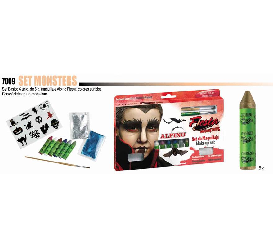 Set de maquillaje Monster de ALPINO. Incluye los artículos que se muestran en la imagen. Ideal para Halloween. Producto cosmético. Se quita con agua y jabón.