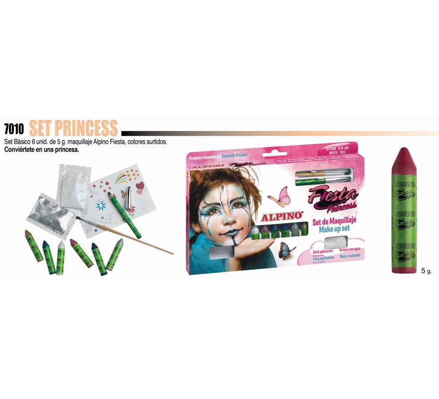 Set de maquillaje Princesa ALPINO. Incluye los artículos que se muestran en la imagen. Ideal para Fiestas y Cumpleaños. Producto cosmético. Fácil aplicación, se quita con agua y jabón.