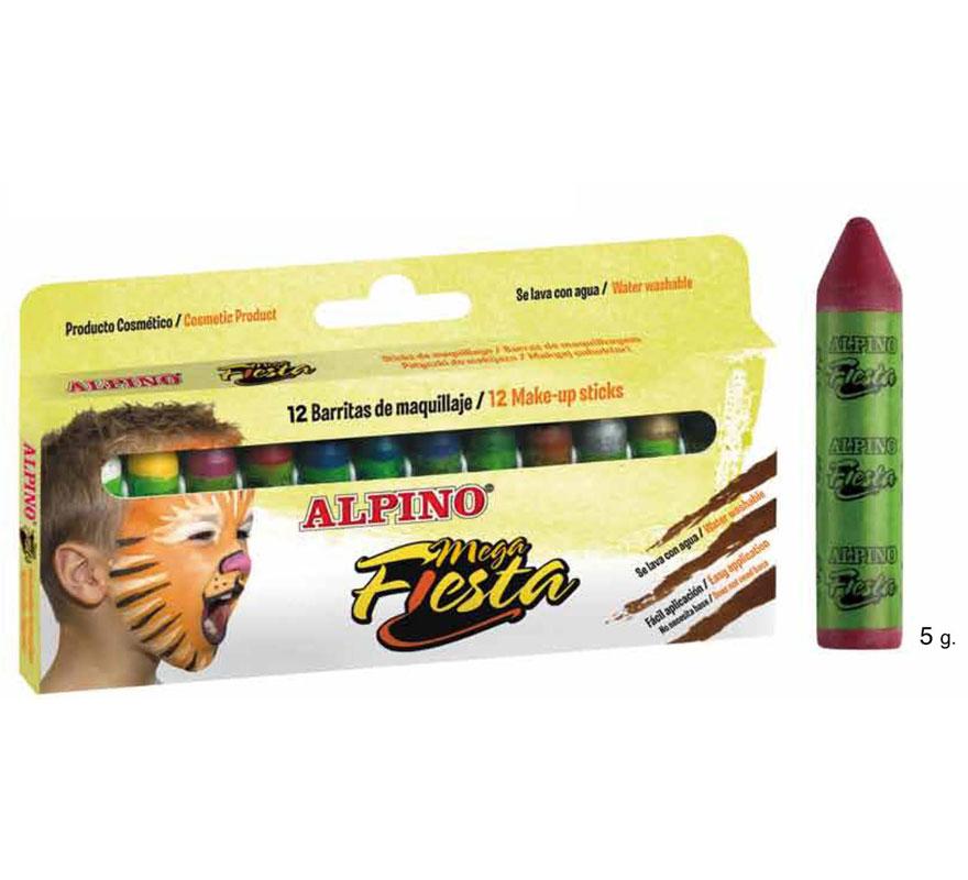 Set 12 barras de 5 gramos de maquillaje ALPINO colores surtidos. Ideal para Fiestas y Cumpleaños. Producto cosmético. Fácil aplicación, se quita con agua y jabón.