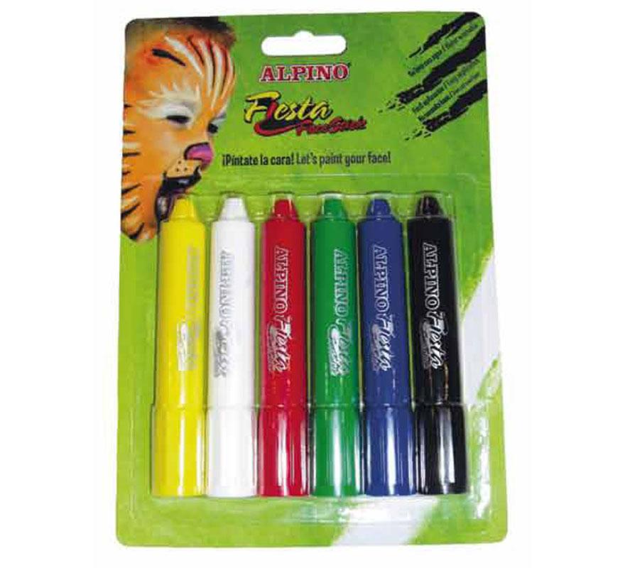 Set Face stick 6 unidades de colores surtidos ALPINO. Ideal para Colegios, Guarderías y para Fiestas y Cumpleaños. Producto cosmético. Fácil aplicación, se quita con agua y jabón.