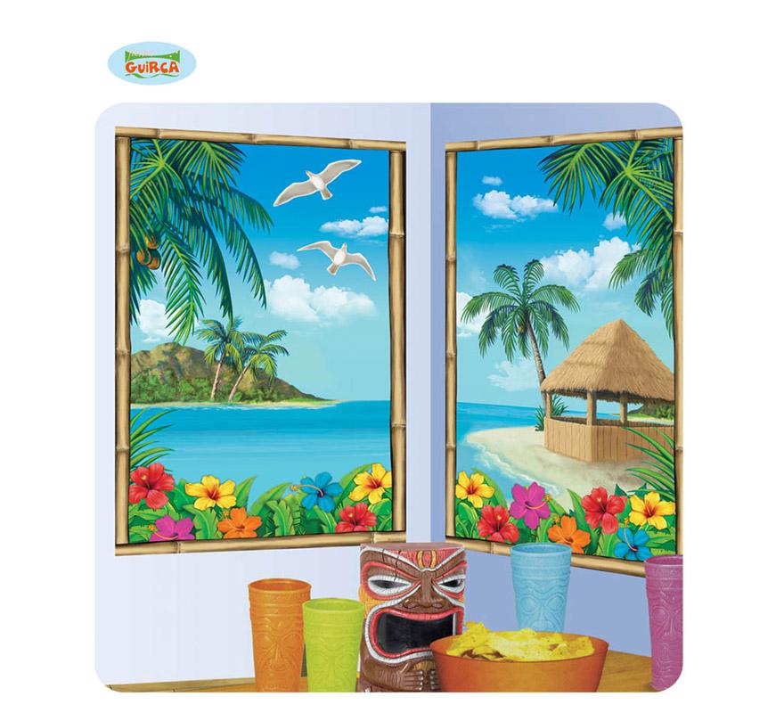 Posters decorativos Escena Paisaje Hawaiano 75 x 120 cm. Perfecta para decorar Fiestas Hawaianas en verano.