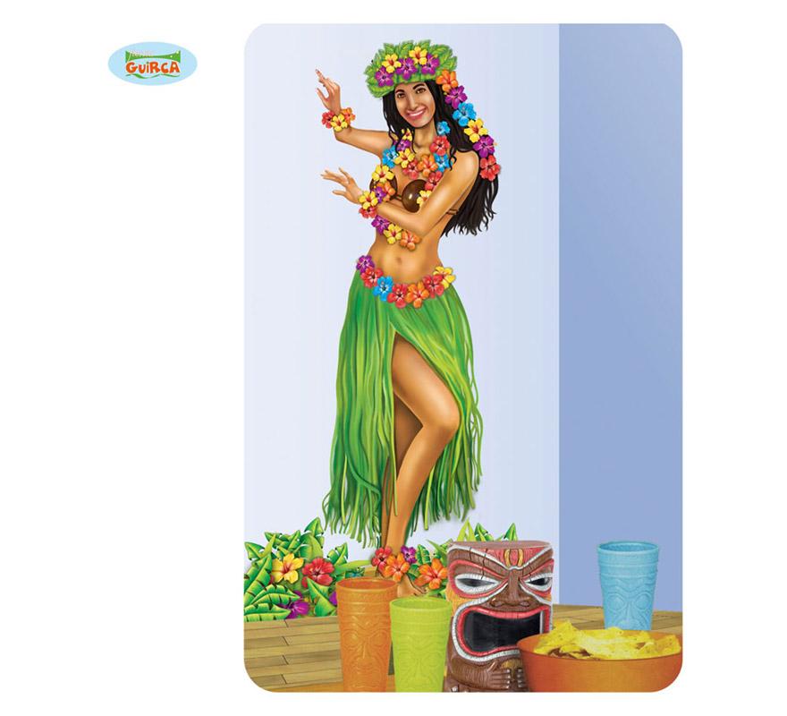 Poster Chica Hawaiana decorativo. Perfecto para ambientar Fiestas de Hawai en verano.