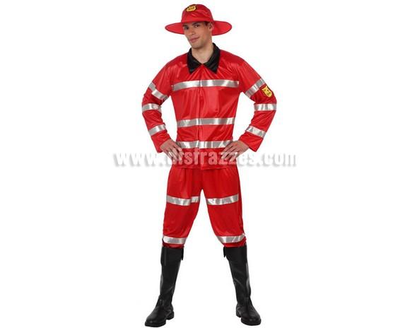 Disfraz de Bombero rojo para chicos. Talla 1 ó talla S = 48/52. Incluye chaqueta, pantalón y sombrero. Cubrebotas NO incluidos. El pantalón es hasta el tobillo.