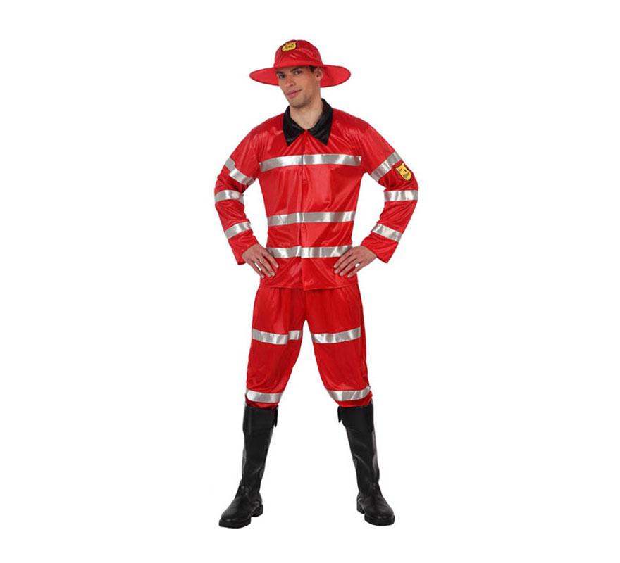 Disfraz de Bombero rojo para hombre. Talla 3 ó talla XL = 54/58. Incluye camisa, pantalón y sombrero. Cubrebotas NO incluidos. El pantalón es hasta el tobillo.