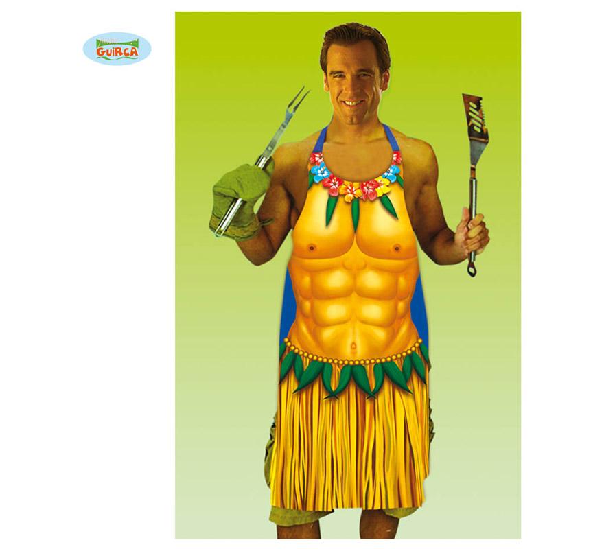Delantal Hawaiano para hombre. Perfecto para hacer la Barbacoa en una Fiesta Hawaiana.