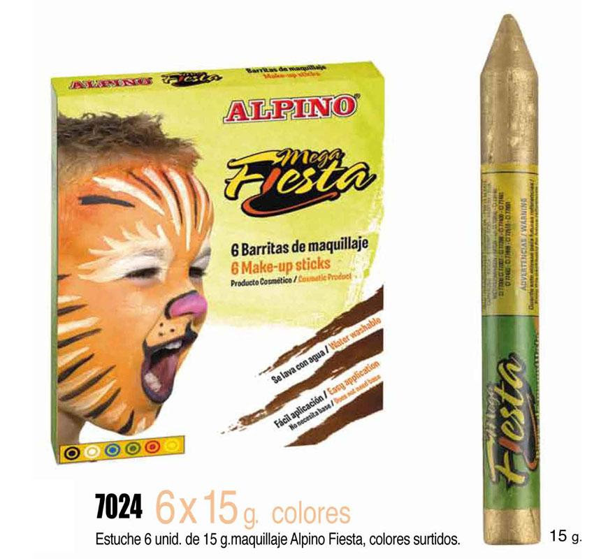 Set 6 barras 15 gr de maquillaje ALPINO colores surtidos. Ideal para Fiestas y Cumpleaños. Producto cosmético. Fácil aplicación, se quita con agua y jabón.