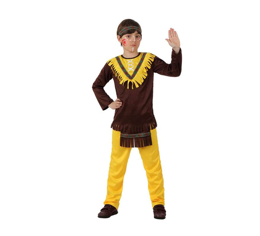 Disfraz de Indio marrón para niños de 7 a 9 años. Incluye pantalón con delantal, camiseta y cinta de la cabeza.