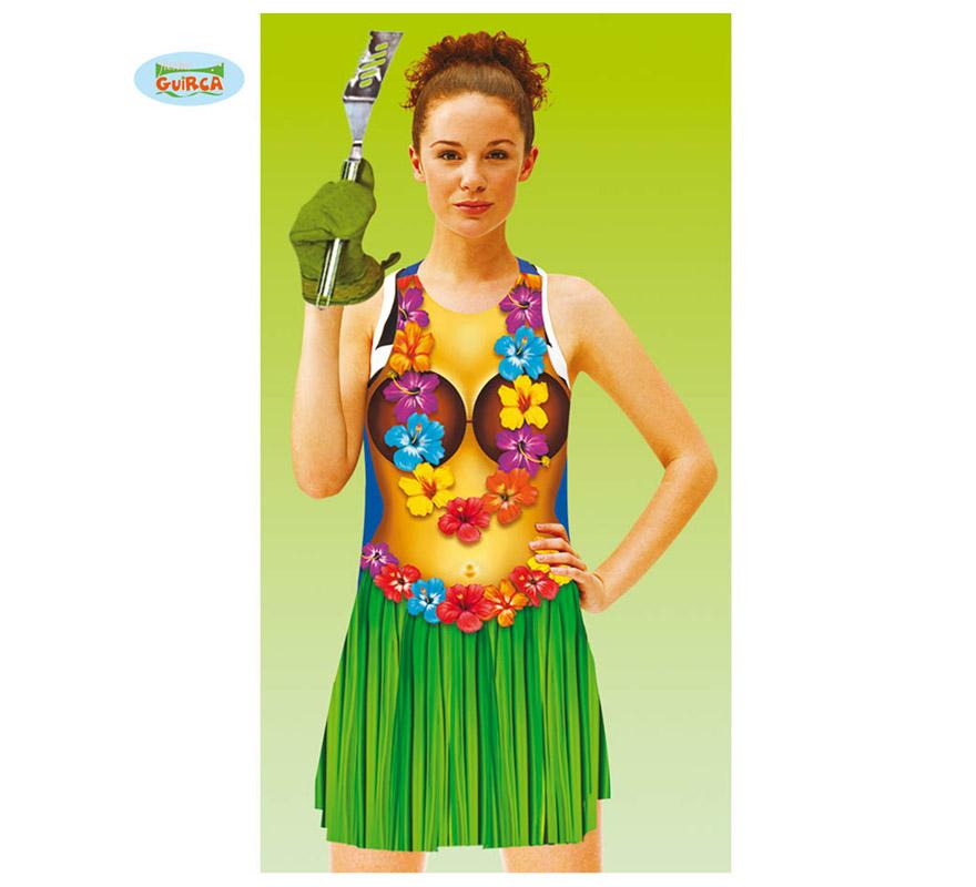 Delantal Hawaiano para mujer. Perfecto para hacer la Barbacoa en cualquier Fiesta Hawaiana.