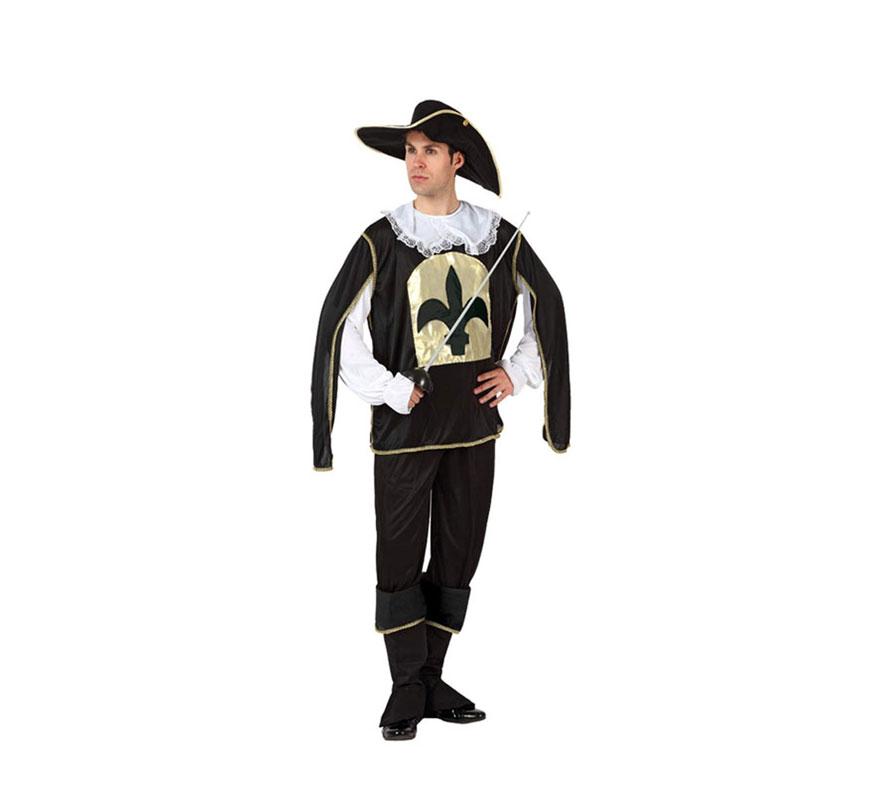 Disfraz de Mosquetero Negro para hombre. Talla Standar M-L = 52/54. Incluye disfraz completo. Florete o Espada NO incluida, podrás verla en la sección de Complementos.