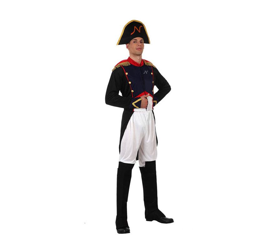 Disfraz de Napoleón para hombre. Talla 2 ó standar M-L 52/54. Incluye sombrero, chaqueta y pantalón con cubrebotas. Guantes NO incluidos, podrás verlos en la sección de Guantes y Medias dentro de Complementos.