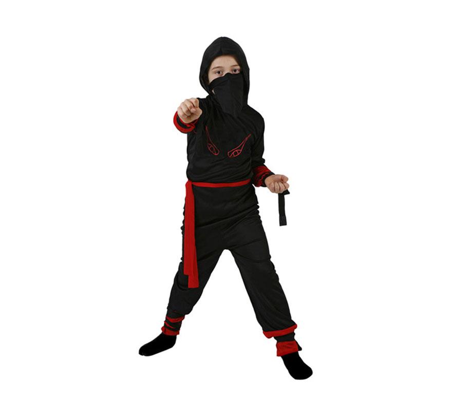 Disfraz de Guerrero Ninja rojo para niños de 5 a 6 años. Incluye disfraz completo.