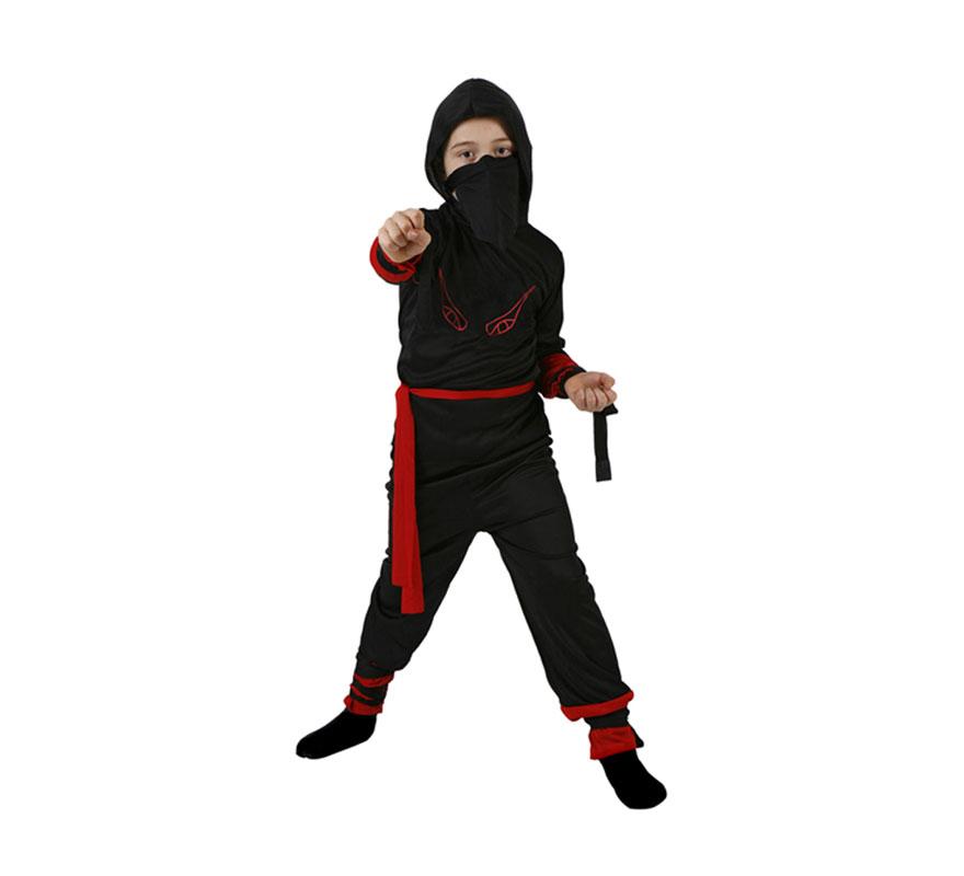 Disfraz de Guerrero Ninja rojo para niños de 7 a 9 años. Incluye disfraz completo.