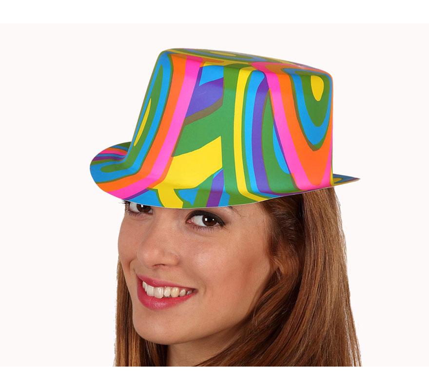 Sombrero de Payaso multicolor de PVC para adultos.